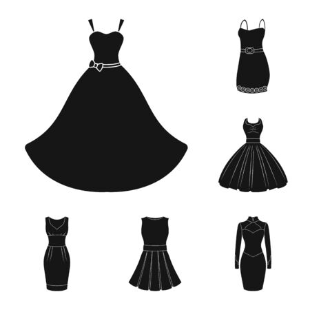 Isolated object of dress and clothes icon. Collection of dress and evening bitmap icon for stock. Banque d'images - 129117763
