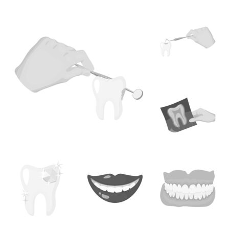 bitmap illustration of tooth and happy. Set of tooth and whitening stock symbol for web.