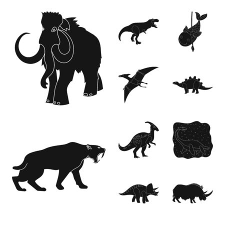 bitmap design of animal and character. Set of animal and ancient stock bitmap illustration.