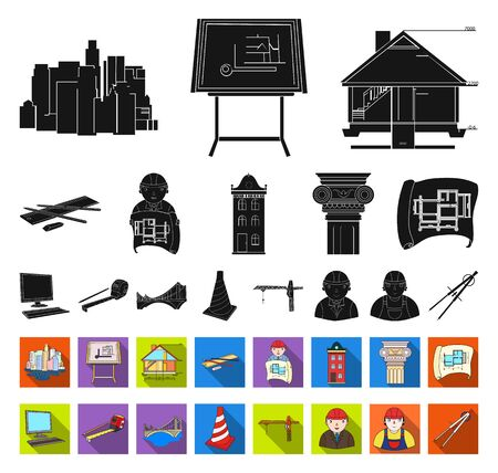 Architecture and construction black,flat icons in set collection for design. Architect and equipment bitmap symbol stock web illustration.