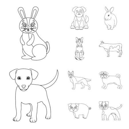 bitmap illustration of animal and habitat sign. Collection of animal and farm stock bitmap illustration.