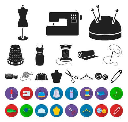 Atelier and sewing black,flat icons in set collection for design. Equipment and tools for sewing bitmap symbol stock web illustration.