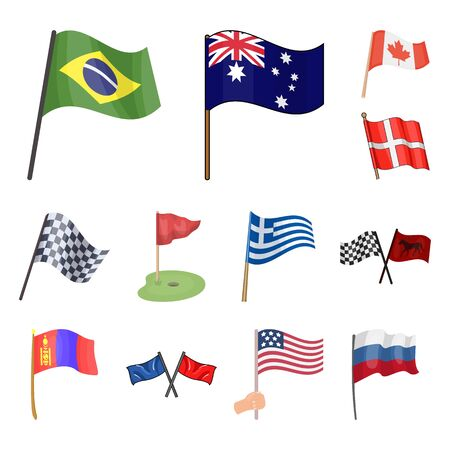 Isolated object of world and flag sign. Set of world and ribbon bitmap icon for stock.