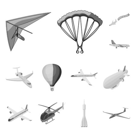 Isolated object of transport and object symbol. Set of transport and gliding stock symbol for web. Stockfoto