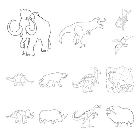 Isolated object of animal and character sign. Collection of animal and ancient bitmap icon for stock. 版權商用圖片