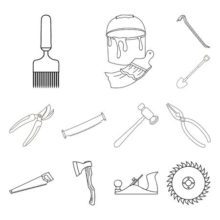 Isolated object of tool and construction sign. Set of tool and carpentry stock bitmap illustration.