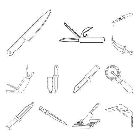 Isolated object of knife and cut icon. Set of knife and flat bitmap icon for stock. 스톡 콘텐츠