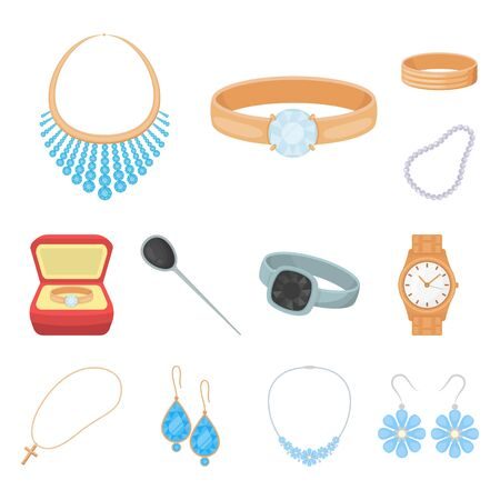 Isolated object of jewelery and necklace sign. Set of jewelery and pendent bitmap icon for stock. 스톡 콘텐츠