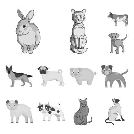 bitmap illustration of animal and habitat. Set of animal and farm bitmap icon for stock.