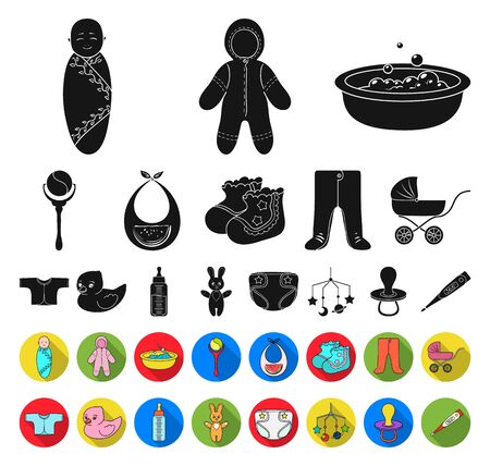 Birth of a baby black,flat icons in set collection for design. Newborn and accessories bitmap symbol stock web illustration.
