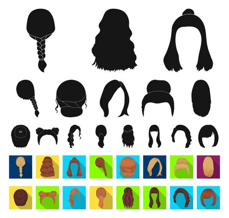 Female hairstyle black,flat icons in set collection for design. Stylish haircut bitmap symbol stock web illustration. Фото со стока