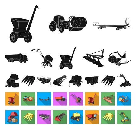 Agricultural machinery black,flat icons in set collection for design. Equipment and device bitmap symbol stock web illustration.