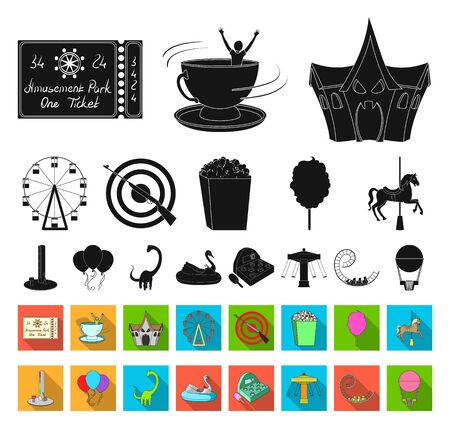 Amusement park black,flat icons in set collection for design. Equipment and attractions bitmap symbol stock web illustration.