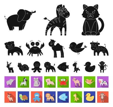 An unrealistic black,flat animal icons in set collection for design. Toy animals bitmap symbol stock web illustration. Stock Photo