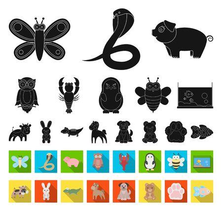 An unrealistic black,flat animal icons in set collection for design. Toy animals bitmap symbol stock web illustration. Reklamní fotografie