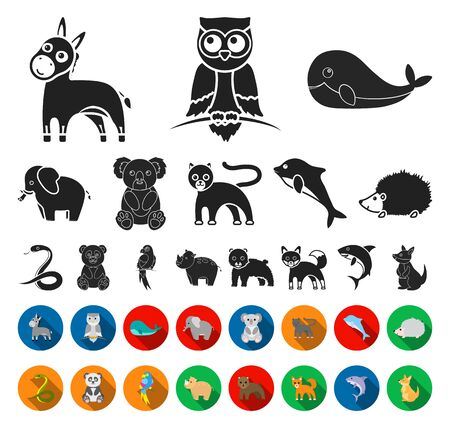 An unrealistic animal black,flat icons in set collection for design. Toy animals bitmap symbol stock web illustration.
