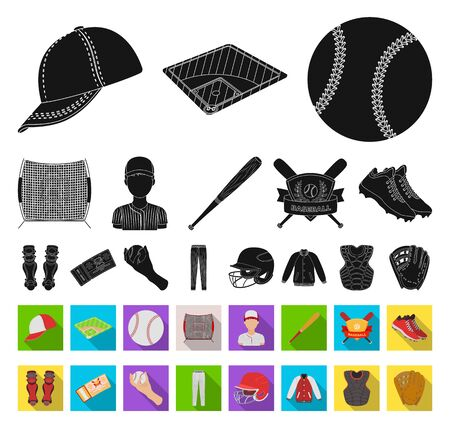 Baseball and attributes black,flat icons in set collection for design.Baseball player and equipment bitmap symbol stock web illustration.