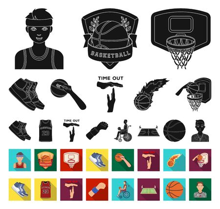 Basketball and attributes black,flat icons in set collection for design.Basketball player and equipment bitmap symbol stock web illustration. Banco de Imagens