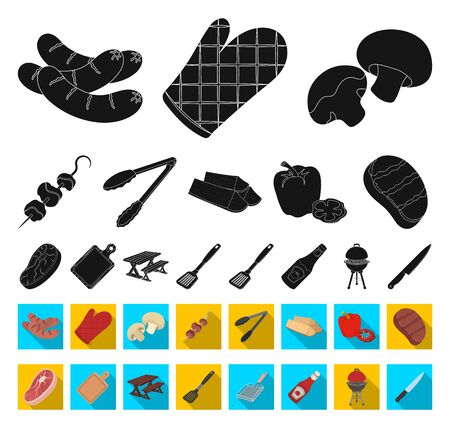 Barbecue and equipment black,flat icons in set collection for design. Picnic and fried food bitmap symbol stock web illustration. Archivio Fotografico - 129129927