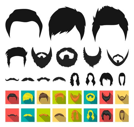 Mustache and beard, hairstyles black,flat icons in set collection for design. Stylish haircut bitmap symbol stock web illustration. Imagens