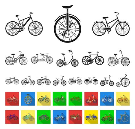 Various bicycles black,flat icons in set collection for design. The type of transport bitmap symbol stock web illustration.