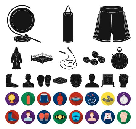 Boxing extreme sports black,flat icons in set collection for design. Boxer and attributes bitmap symbol stock web illustration.
