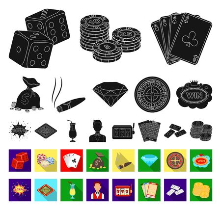 Casino and gambling black,flat icons in set collection for design. Casino and equipment bitmap symbol stock web illustration.