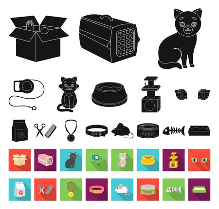 An animal cat black,flat icons in set collection for design. Caring for a cat bitmap symbol stock web illustration. Фото со стока