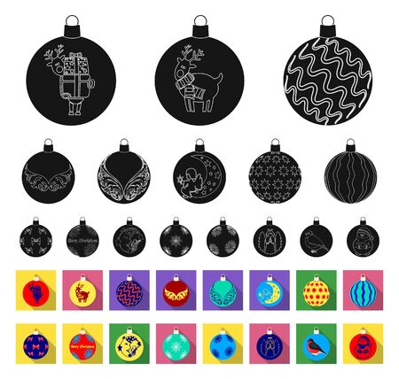 Christmas toys black,flat icons in set collection for design.New Year balls bitmap symbol stock web illustration. Stock Photo