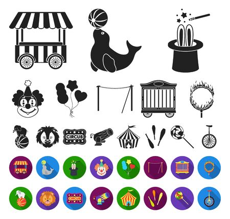 Circus and attributes black,flat icons in set collection for design. Circus Art bitmap symbol stock web illustration. Reklamní fotografie