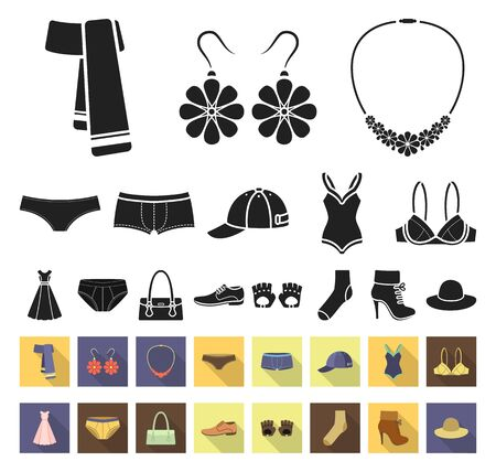 Clothes and accessories black,flat icons in set collection for design. Shoes and decoration bitmap symbol stock web illustration. Stock fotó
