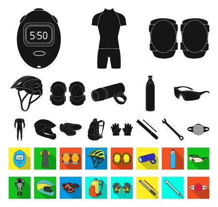 Bicycle outfit black,flat icons in set collection for design. Bicycle and tool bitmap symbol stock web illustration. Фото со стока