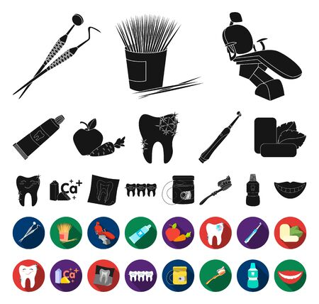 Dental care black,flat icons in set collection for design. Care of teeth bitmap symbol stock web illustration.