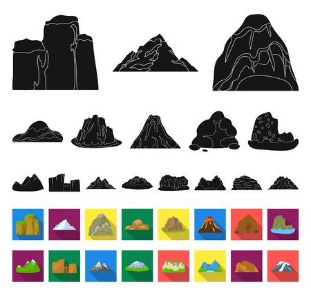 Different mountains black,flat icons in set collection for design.Mountains and landscape bitmap symbol stock web illustration. Stock Photo