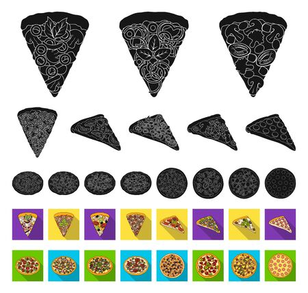 Different pizza black,flat icons in set collection for design.Pizza food bitmap symbol stock web illustration. Stock Photo