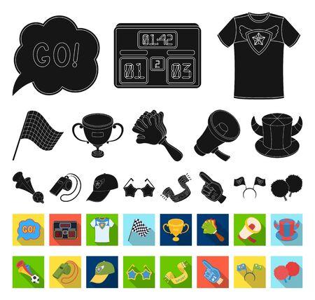 Fan and Attributes black,flat icons in set collection for design. Sports Fan bitmap symbol stock web illustration.