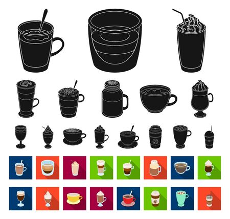Different kinds of coffee black,flat icons in set collection for design. Coffee drink bitmap symbol stock web illustration.