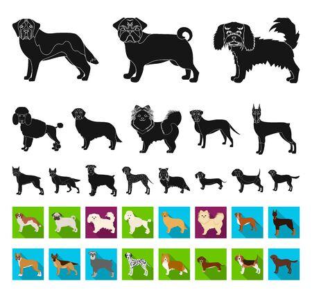 Dog breeds black,flat icons in set collection for design.Dog pet bitmap symbol stock web illustration.