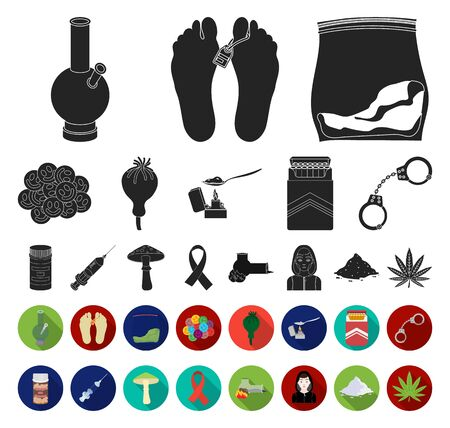 Drug addiction and attributes black,flat icons in set collection for design. Addict and Drug bitmap symbol stock web illustration.