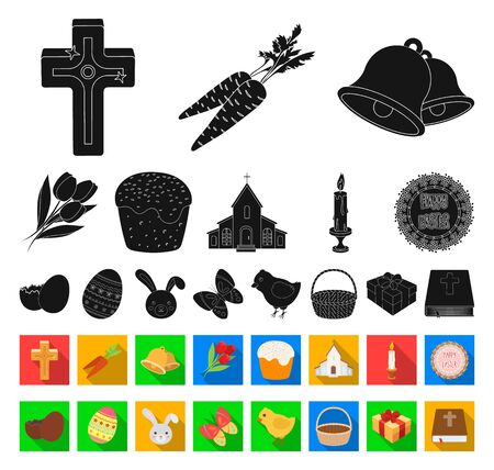 Easter is a Christian holiday black,flat icons in set collection for design. Easter attributes bitmap symbol stock web illustration.