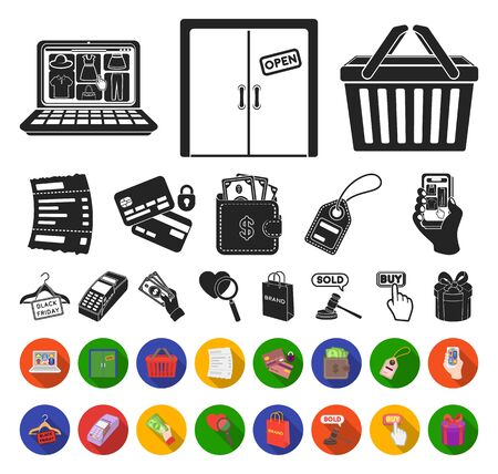 E-commerce, Purchase and sale black,flat icons in set collection for design. Trade and finance bitmap symbol stock web illustration.
