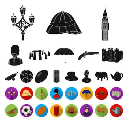 England country black,flat icons in set collection for design.Travel and attractions bitmap symbol stock web illustration.