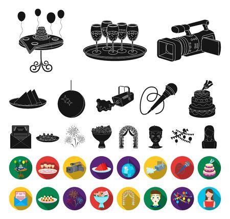 Event Organisation black,flat icons in set collection for design.Celebration and Attributes bitmap symbol stock web illustration.