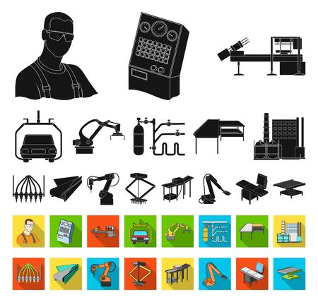 Equipment and machine black,flat icons in set collection for design.Technical progress of the factory bitmap symbol stock web illustration. Stockfoto