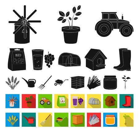 Farm and gardening black,flat icons in set collection for design. Farm and equipment bitmap symbol stock web illustration.