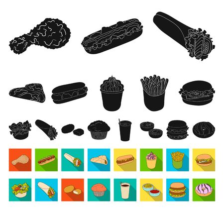 Fast food black,flat icons in set collection for design.Food from semi-finished products bitmap symbol stock web illustration.