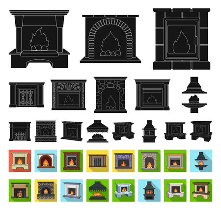 Different kinds of fireplaces black,flat icons in set collection for design.Fireplaces construction bitmap symbol stock web illustration.