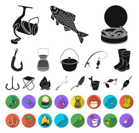 Fishing and rest black,flat icons in set collection for design. Tackle for fishing bitmap symbol stock web illustration.