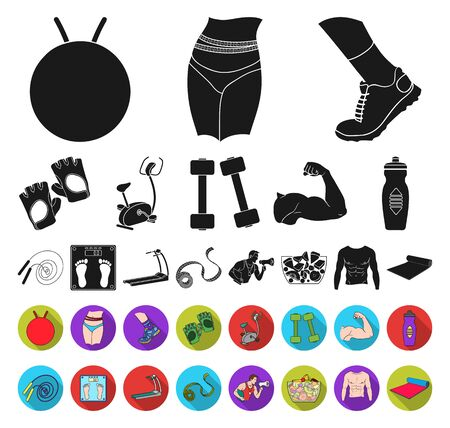 Fitness and attributes black,flat icons in set collection for design. Fitness equipment bitmap symbol stock web illustration.