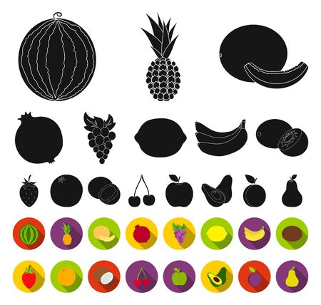 Different fruits black,flat icons in set collection for design. Fruits and vitamins bitmap symbol stock web illustration. Фото со стока